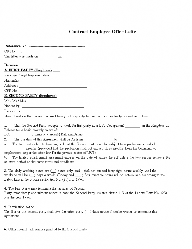 Contract Employee Offer Letter