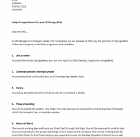 Appointment Letter For Contract Employee