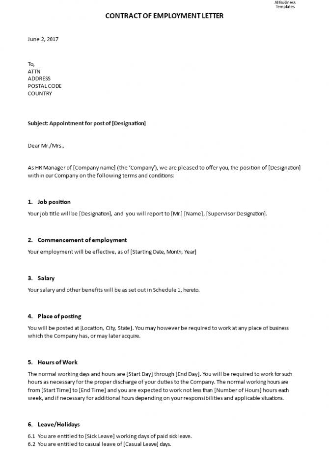 Contract Of Employment Appointment Letter