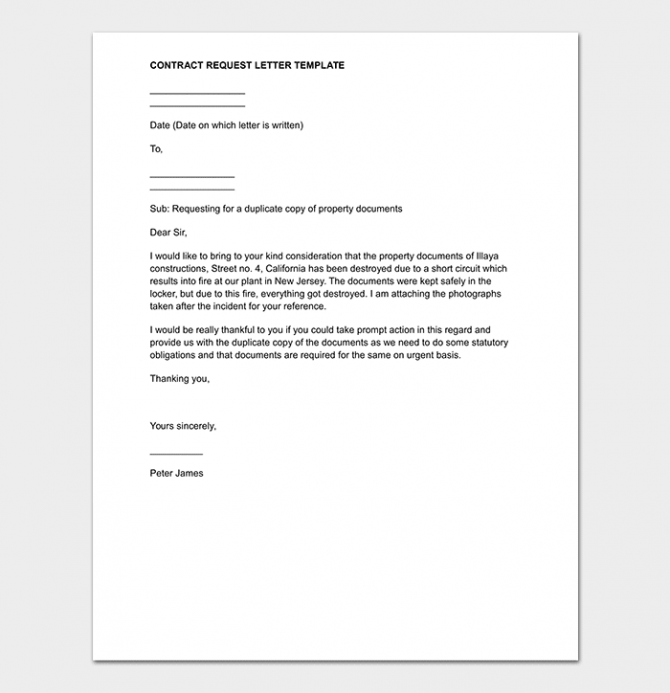 Contract Request Letter Format   Sample Letters