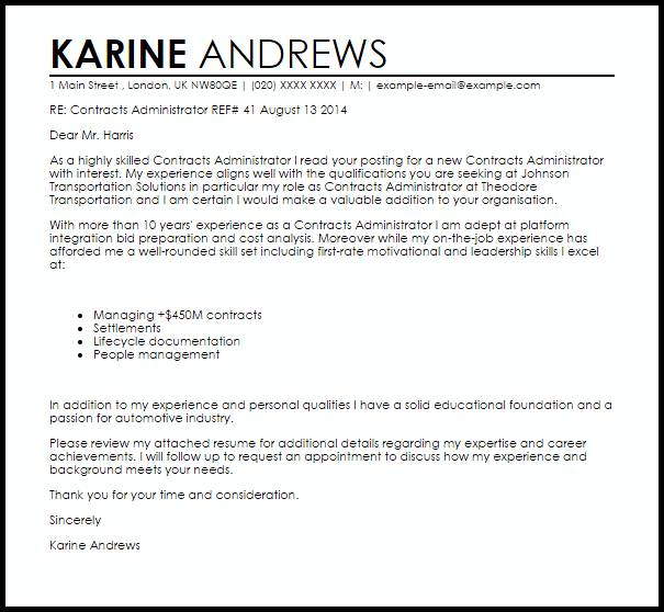 Contracts Administrator Cover Letter Sample