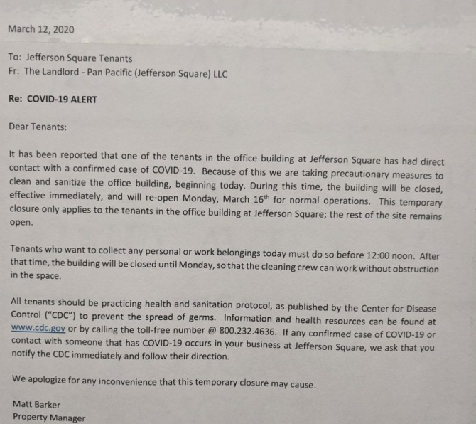 Coronavirus Jefferson Square Office Building Closed For Weekend