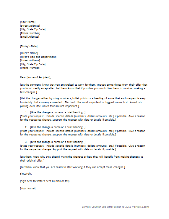 Counter Job Offer Letter Template For Word
