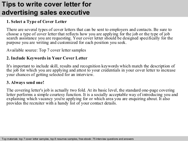 Cover Letter Advertising Sales Executive