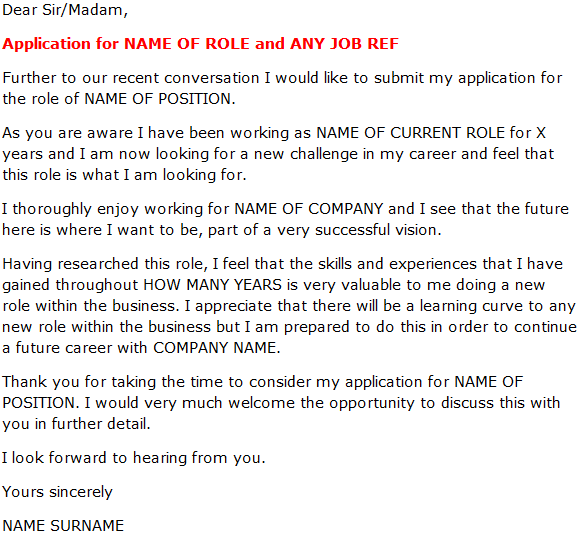 Cover Letter For A Job Promotion Example