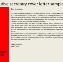 Job Application Letter For Executive Secretary