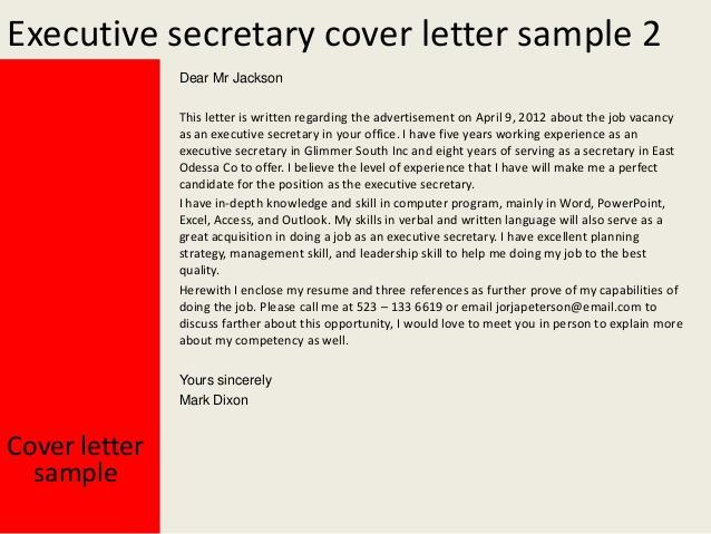 Cover Letter For Executive Secretary Job
