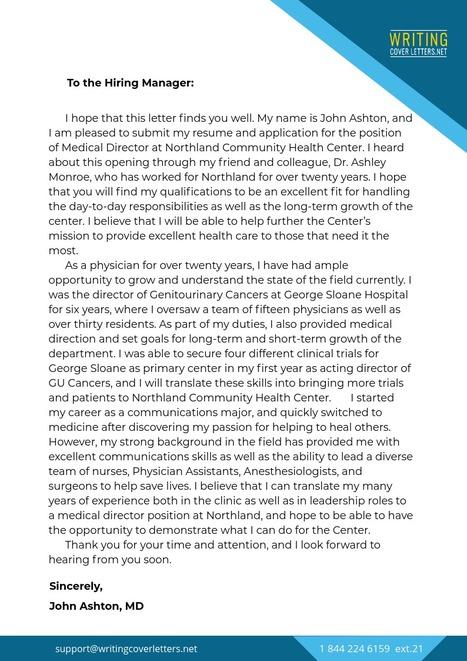 Cover Letter Medical Director Sample