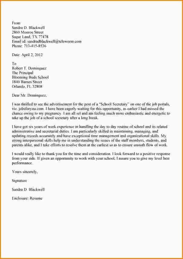 Cover Letter Secretary School Letterg For Executive Resumecretary