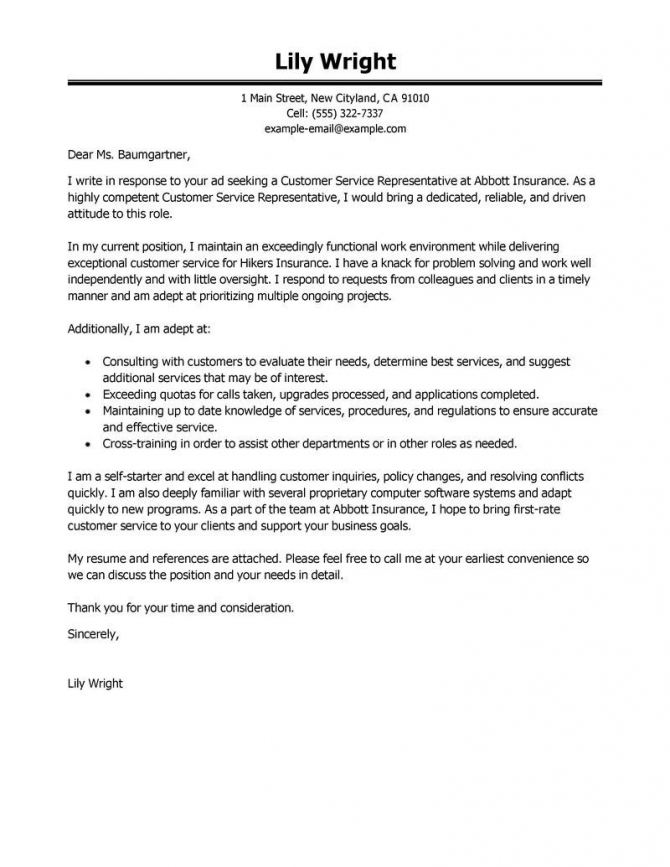 Cover Letter Template For Customer Service Cover