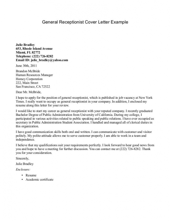 Cover Letter Template For Receptionist In