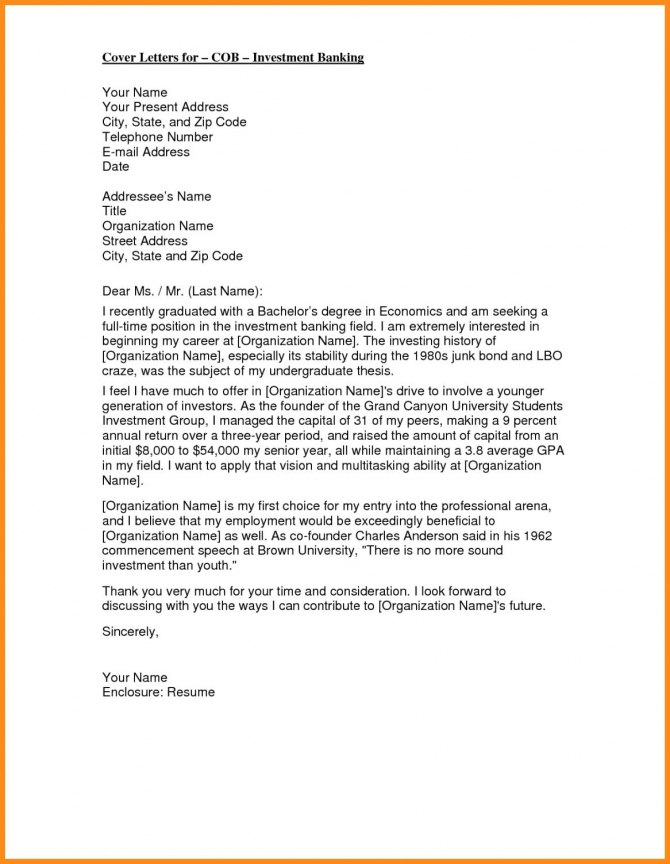 Cover Letter Template Investment Banking   Banking Cover