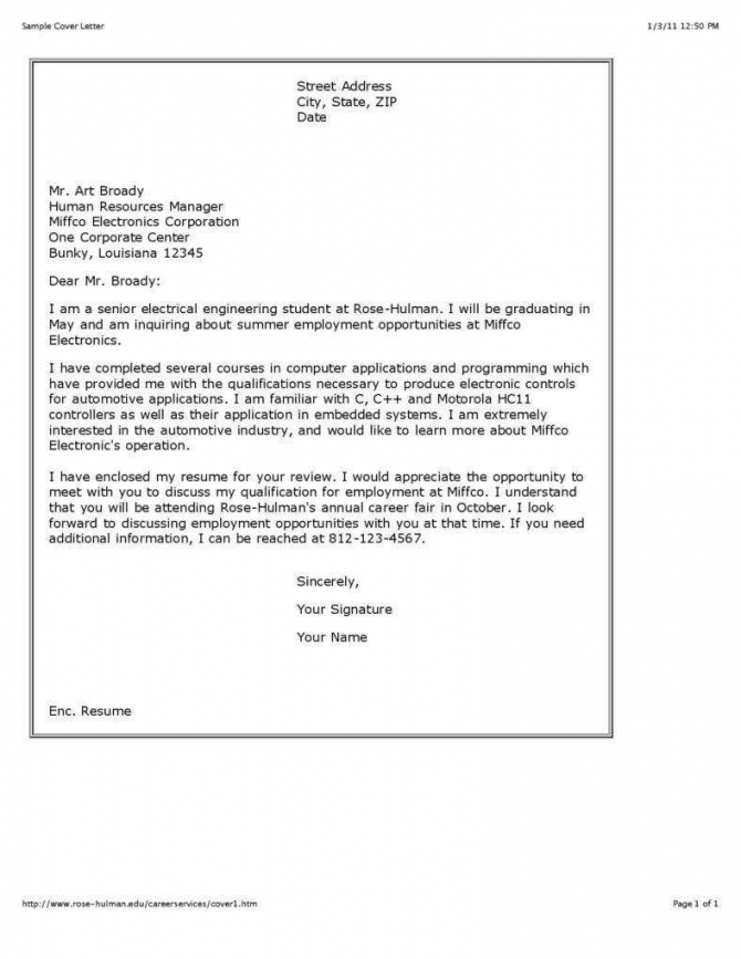 Cover Letter Templates For Freshers