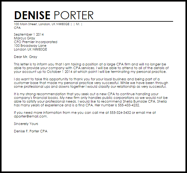 Cpa Client Termination Letter Example