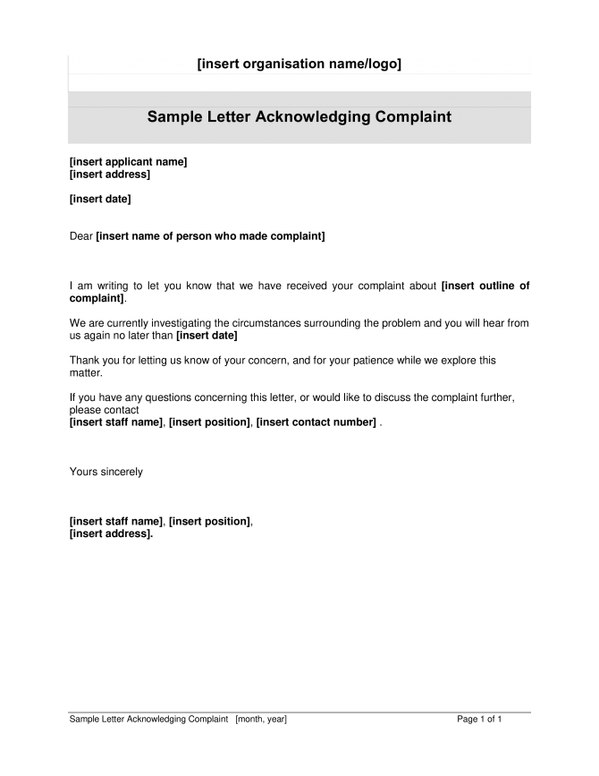 Customer Complaint Acknowledgement Letter