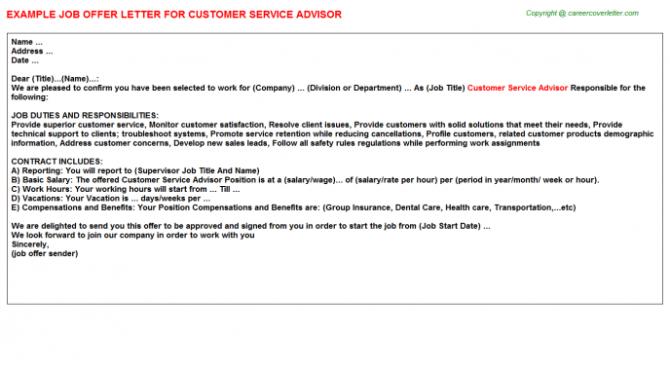 Customer Service Advisor Offer Letters