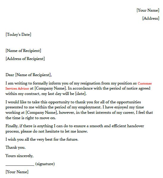 Customer Service Advisor Resignation Letter Example