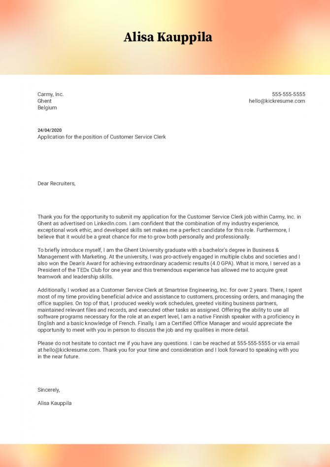 Customer Service Clerk Cover Letter Example