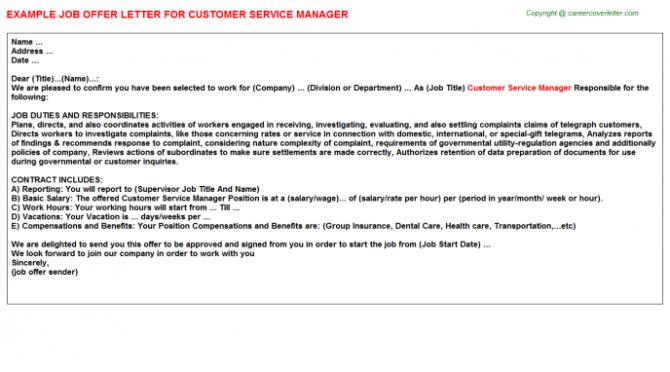 Customer Service Manager Offer Letter
