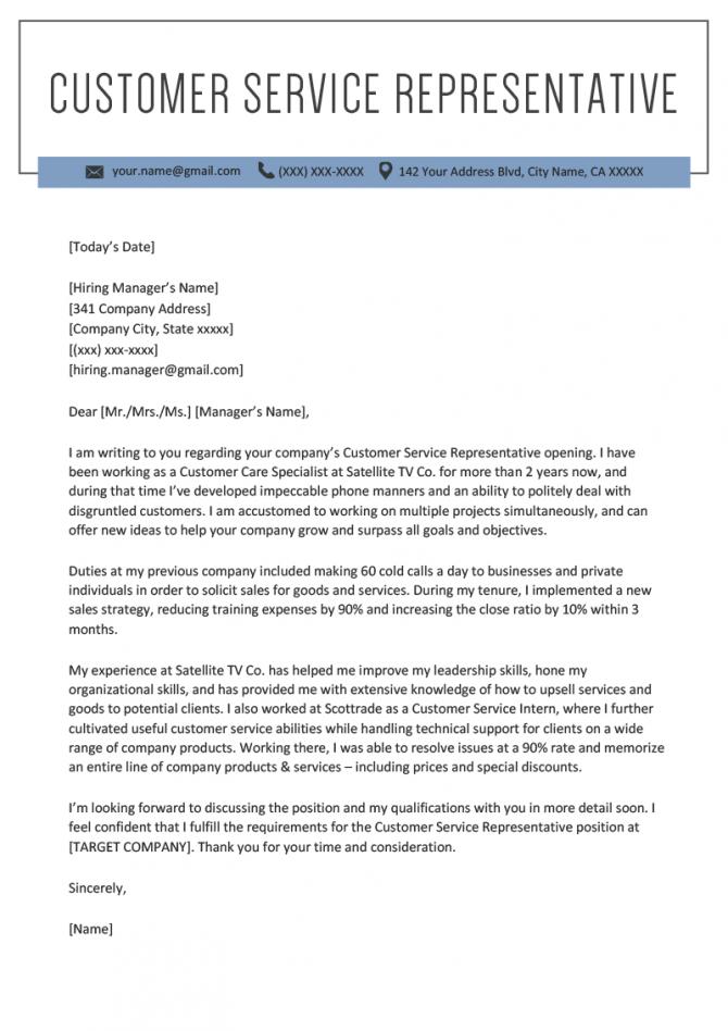 Customer Service Representative Cover Letter Sample Resume Genius