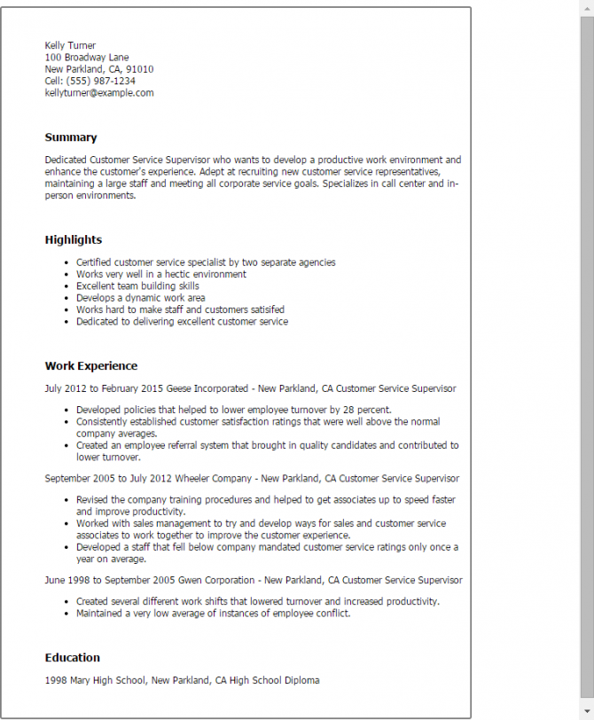 Customer Service Supervisor Resume Templates Try Them Now