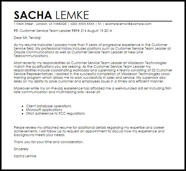 Customer Service Team Leader Cover Letter Sample
