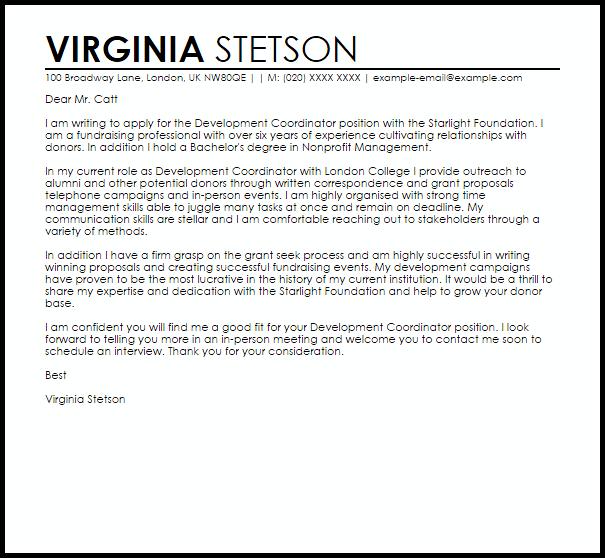 Development Coordinator Cover Letter Sample