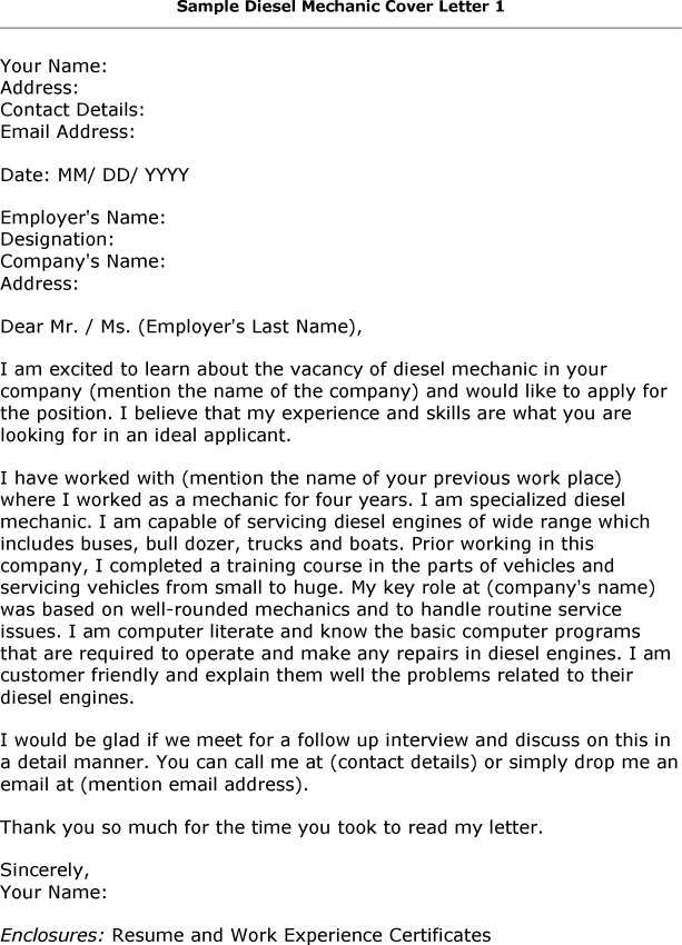 Diesel Mechanic Cover Letter  Resumes   Cover Letters