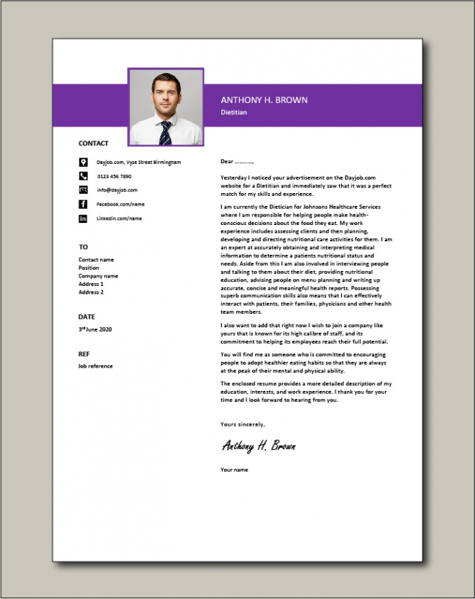 Dietitian Cover Letter  Nutrition  Example  Sample  Healthcare