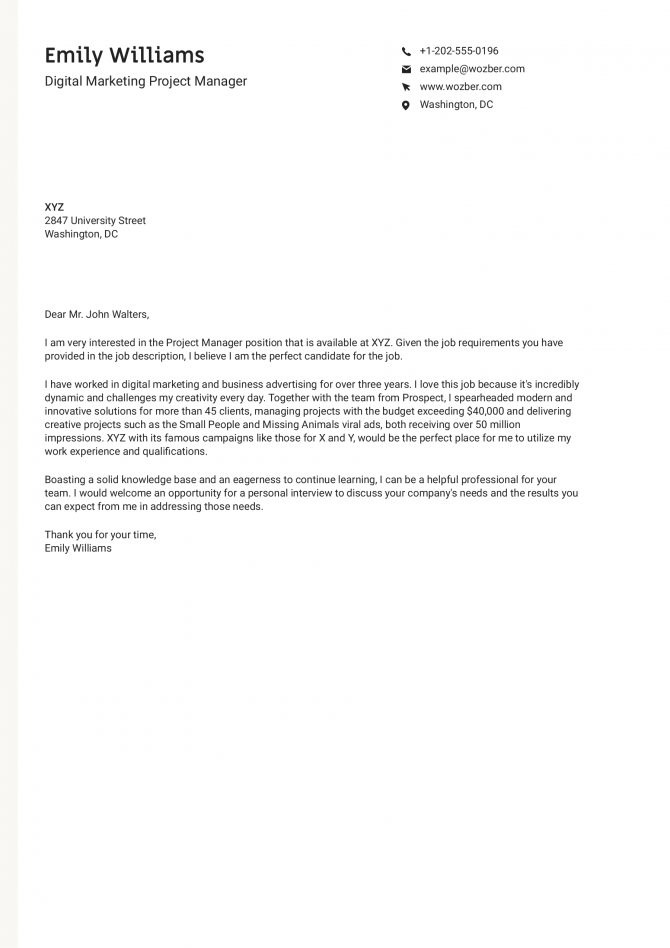 Digital Marketing Project Manager Cover Letter Example