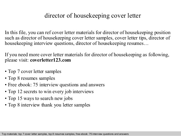 Director Of Housekeeping Cover Letter