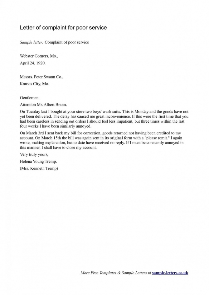 Dissatisfaction Complaint Letter Template Bad Service The Modern