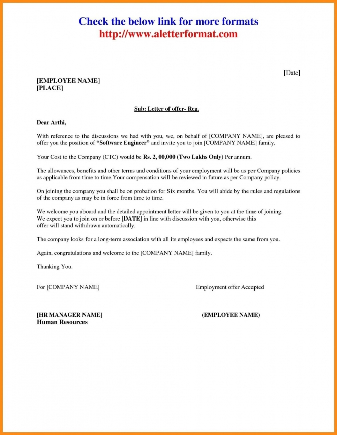 Download Inspirational Job Offer Letter Sample From Employer