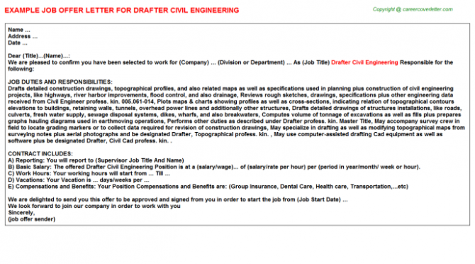 Drafter Civil Engineering Offer Letter