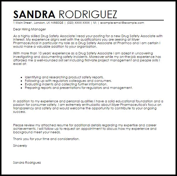 Drug Safety Associate Cover Letter Sample