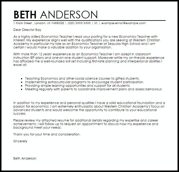 Economics Teacher Cover Letter Sample