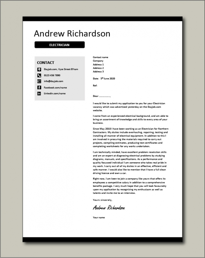 Electrician Cover Letter  Sample  Example  Electrical  Covering