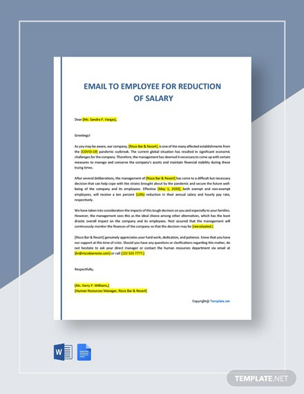 Email To Employee For Reduction Of Salary