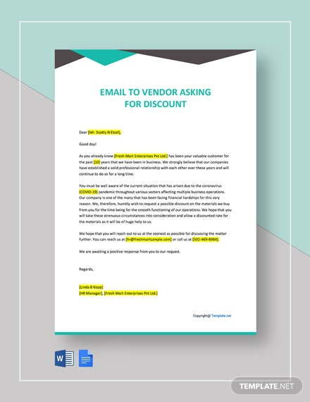 Email To Vendor Asking For Discount Template