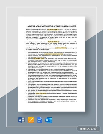 Employee Acknowledgement Of Receiving Procedure Template