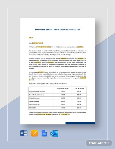 Employee Benefit Plan Explanation Letter Template