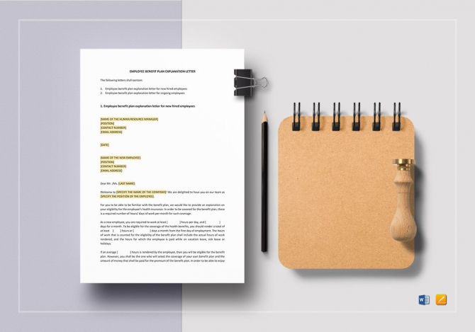 Employee Benefit Plan Explanation Letter Template In Word  Apple Pages