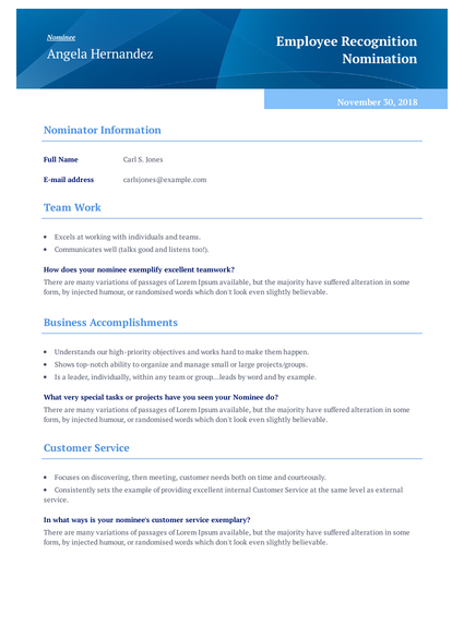 Employee Recognition Award Nomination Template