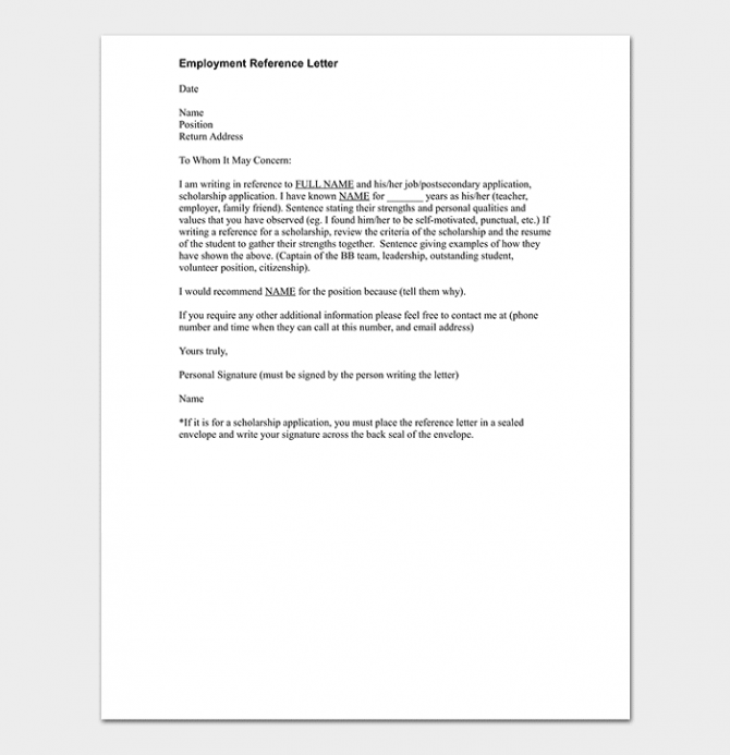 Employment Reference Letter How To Write With Sample Letters