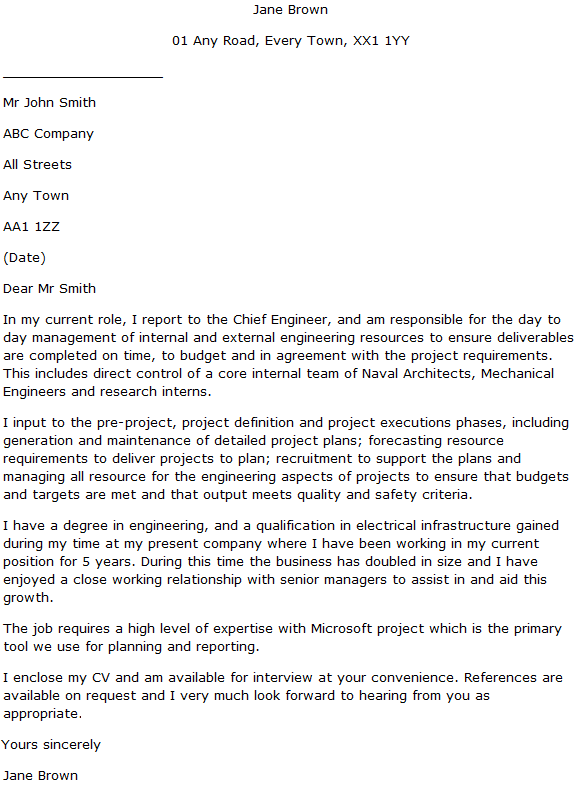 Engineering Manager Cover Letter Example