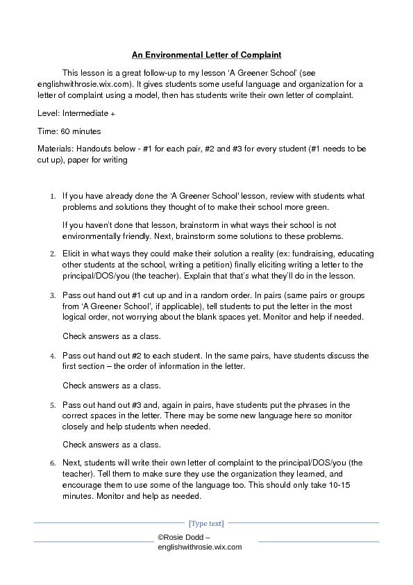 Environmental Letter Of Complaint