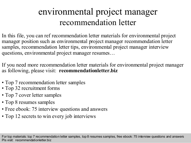 Environmental Project Manager Recommendation Letter