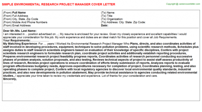 Environmental Research Project Manager Cover Letter