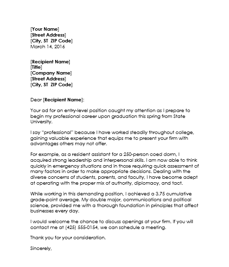 Examples Of Resume Cover Letter For College Students
