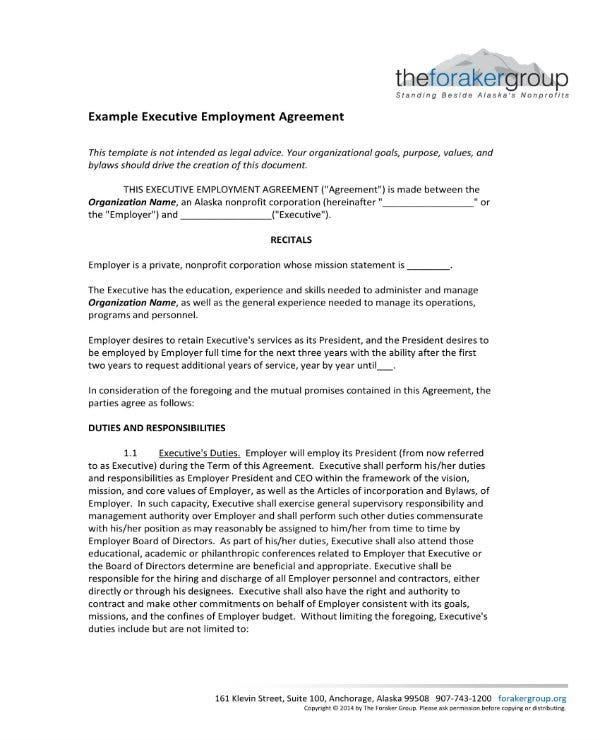 Executive Employee Agreement Templates